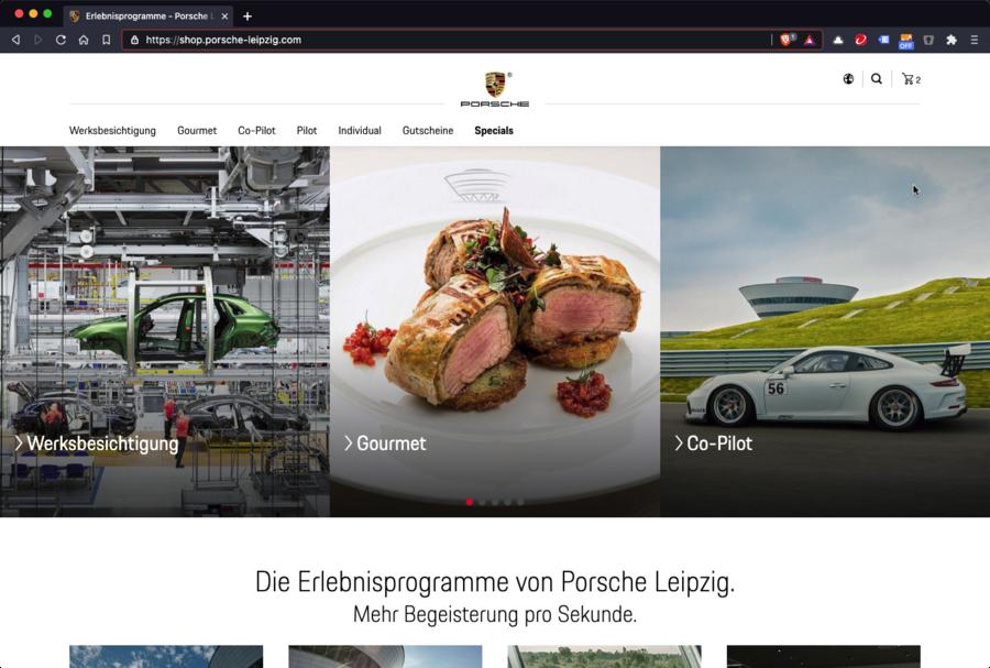 Screenshot der Startseite des Onlineshops