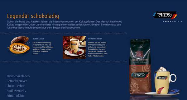 """Heimbs neue Internetseite für das Kakaogetränk """"choxo"""""""