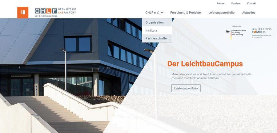Screenshot der Startseite der Open Hybrid LabFactory
