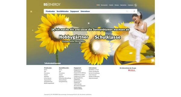 Screenshot der Online-Kampagne für BS|ENERGY