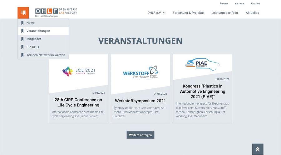 Screenshot der Veranstalungenseite der Open Hybrid LabFactory