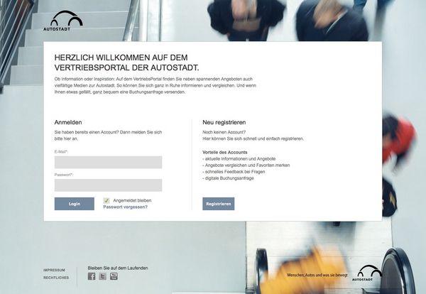 Screenshot der Anmeldemaske zum Vertriebsportal der Autostadt