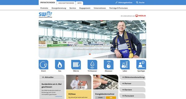Screenshot der neuen Website für die Stadtwerke Weisswasser