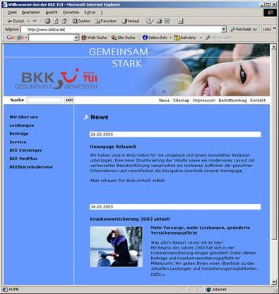 Screenshot 1 vom Relaunch der BKK TUI
