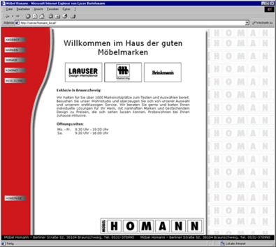Screenshot 1 Internetauftritt Möbel Homann