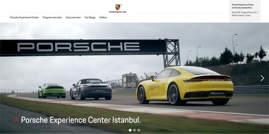 Screenshot der Startseite im Porsche Experience Center