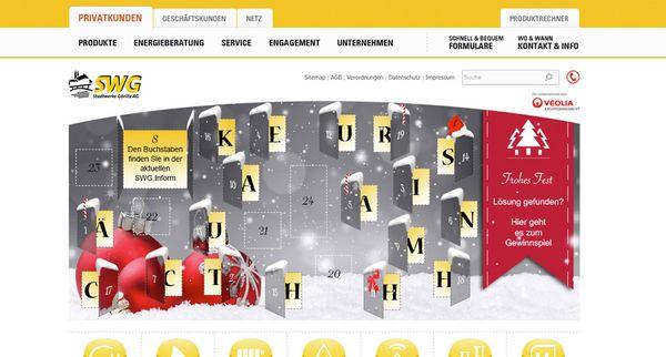 Screenshot vom interaktiven Adventskalender der für die Stadtwerke Görlitz realisiert wurde
