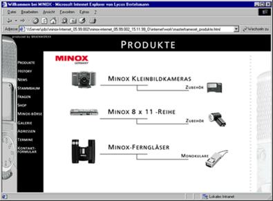 Screenshot 2 Minox Website