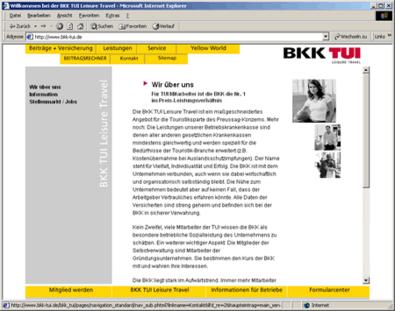 Screenshot 2 vom Internetauftritt der BKK TUI