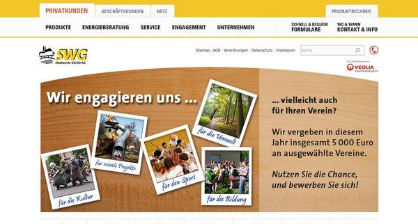 Screenshot der Stadtwerke Görlitz Homepage
