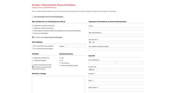 Screenshot vom Kontaktformular der Solvis Website