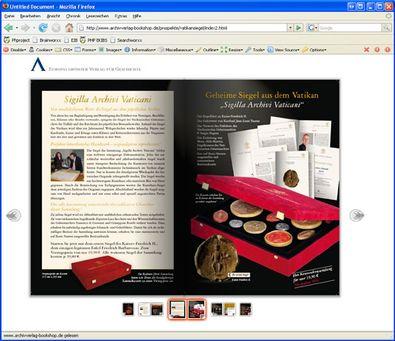 "Screenshot 3 ""Blätterbarer Katalog"" Archiv Verlag"