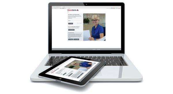 Bild eines Laptops mit der Homepage des Metallrente Web-to-Print-Services auf dem Bildschirm