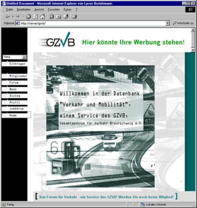 Screenshot 1 Internetauftritt GZVB