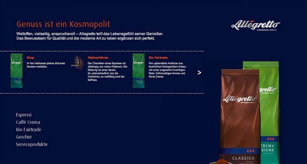 """Heimbs neue Internetseite für die Kaffeespezialität """"Allegretto"""""""