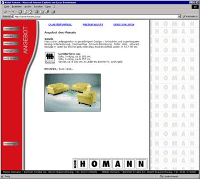 Screenshot 2 Internetauftritt Möbel Homann