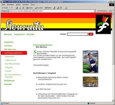 Screenshot 3 Internetauftritt Fleurada GmbH
