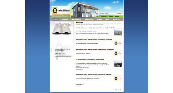 Screenshot der relaunchten Internetpräsenz vom Bauunternehmen Heinz Eilhardt