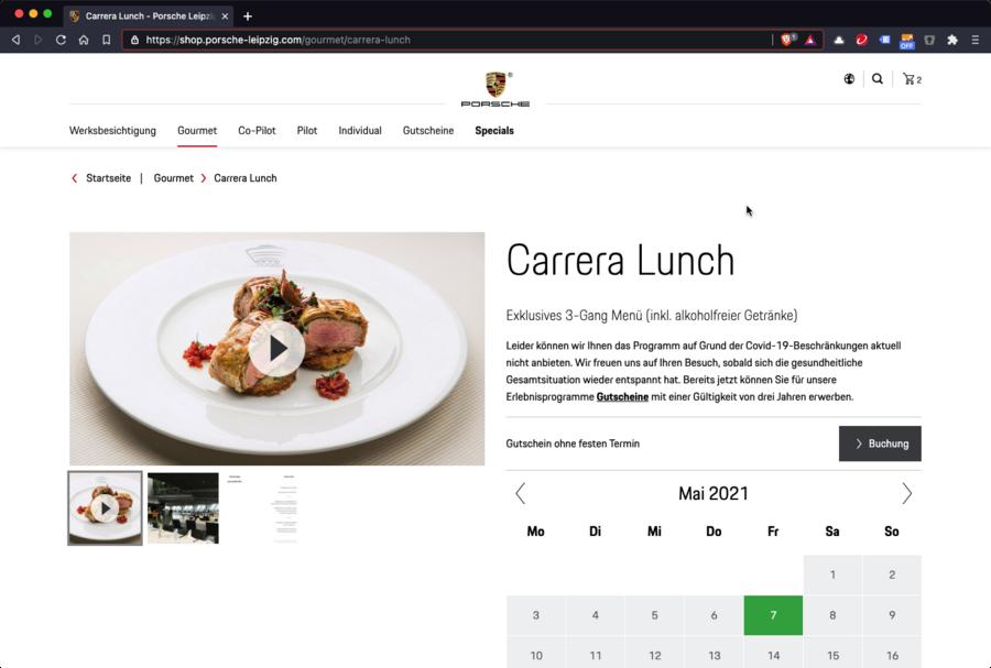 Screenshot der Produkt-Detailansicht im Onlineshop