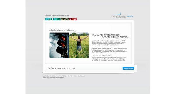 Screenshot der Startseite vom Jobportal der Liebenburger Fontheim-Klinik