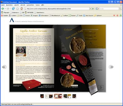 "Screenshot 5 ""Blätterbarer Katalog"" Archiv Verlag"