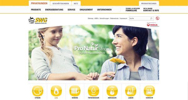 Screenshot der Startseite vom neuen Internetauftritt der Stadtwerke Görlitz