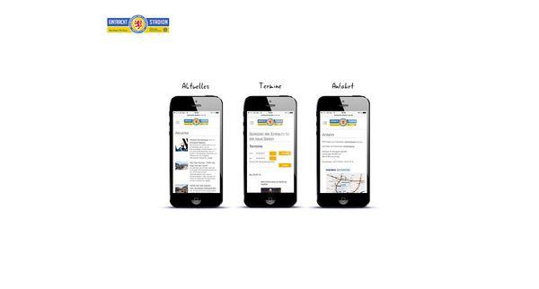 Darstellung von drei mobilen Seiten des Eintracht Stadions auf dem iPhone