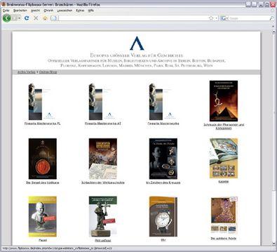 """Screenshot 1 """"Virtueller Lesesaal"""" Archiv Verlag"""