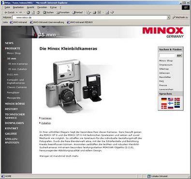 Screenshot 1 Minox Website