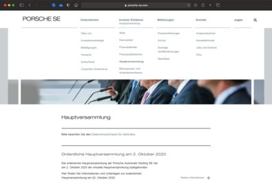 Screenshot des Webauftritts von Porsche SE