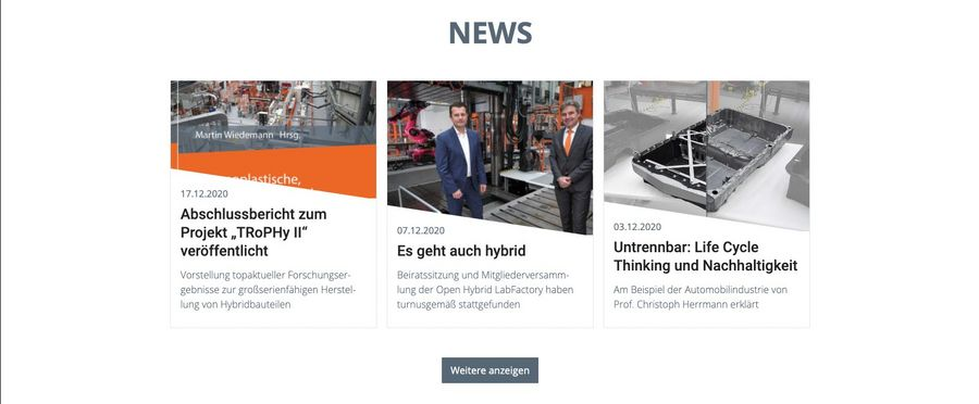 Screenshot der Newsseite der Open Hybrid LabFactory