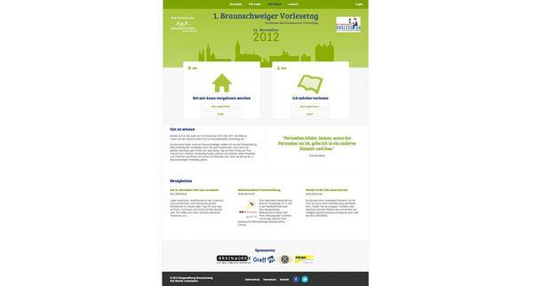 Screenshot von der Internetseite der Bürgerstiftung zum 1. Braunschweiger Vorlesetag